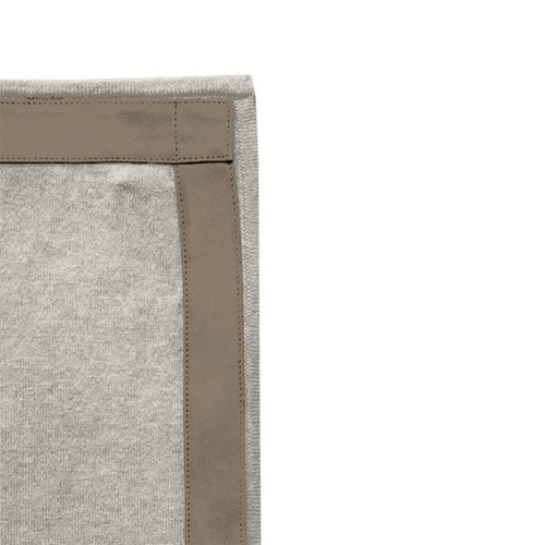 Rani Arabella Cashmere Throw with Suede Border - Pearl