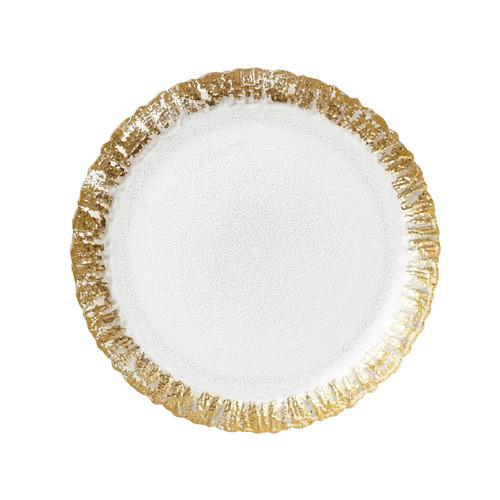 Vietri Rufolo Glass Gold Salad Plate