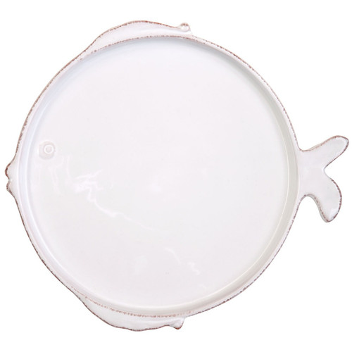 Vietri Lastra Fish White Dinner Plate