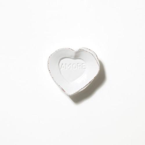 Vietri Lastra White Heart Mini Amore Plate