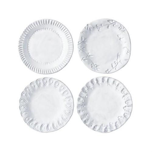 Vietri Incanto Stone White Assorted Canape Plates - Set of 4