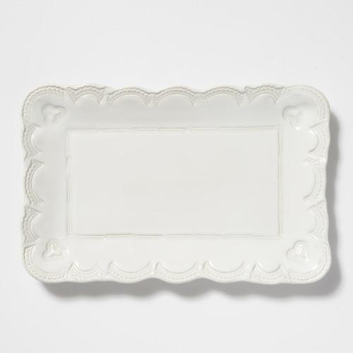 Vietri Incanto Stone White Lace Small Rectangular Platter