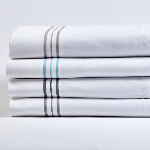 Ann Gish Hem Stripe Pillowcase Set - White/Grey