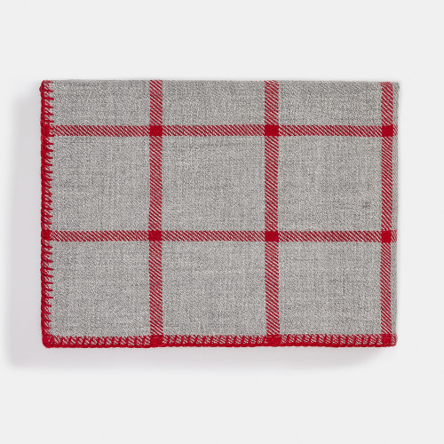 Alicia Adams Graydon Throw Light Grey/Scarlet