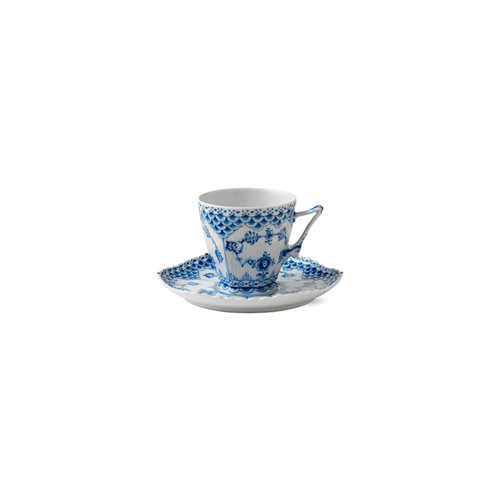 Royal Copenhagen Blue Fluted Full Lace Coffee Cup & Saucer, 5oz