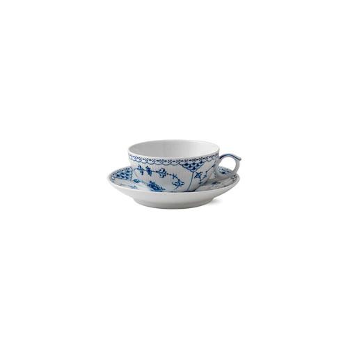 Royal Copenhagen Blue Fluted Half Lace Tea Cup & Saucer, 6.75oz