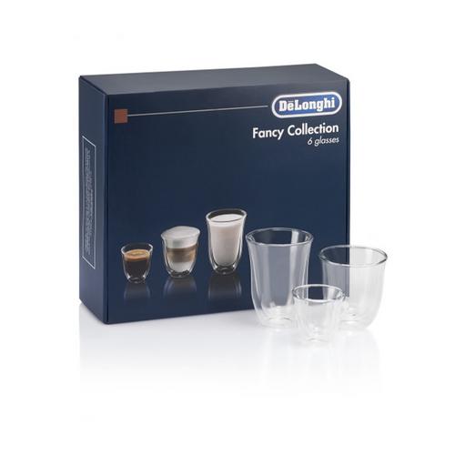 De'Longhi Trio Gift Set 2 Espresso, 2 Cappuccino, 2 Latte Double Wall Thermal Glasses