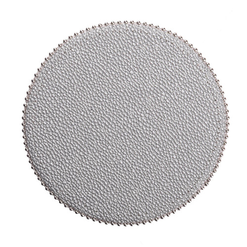 Uppercut Shagreen Coasters - Silver - Round - Silver Ball Chain Trim