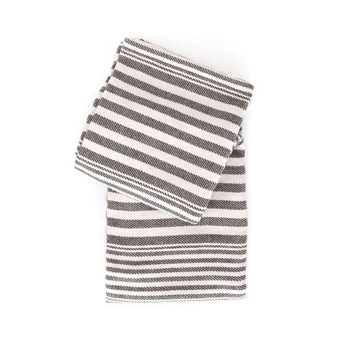 Dash & Albert Rugby Stripe Throw - Charcoal