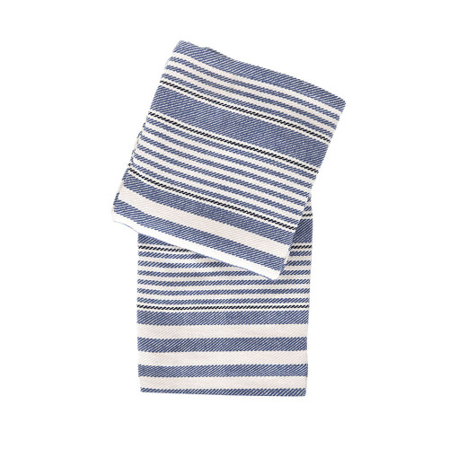 Dash & Albert Rugby Stripe Throw - Denim