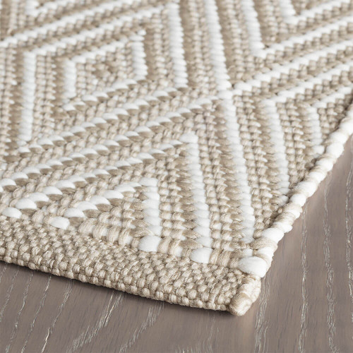 Dash Albert Diamond Platinum White Indoor Outdoor Rug 2x3