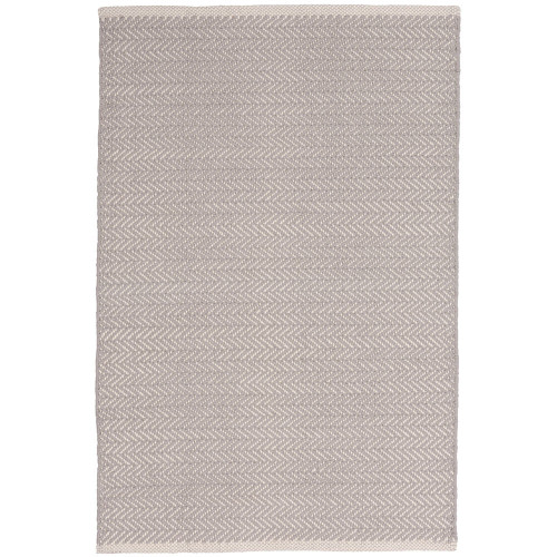 Dash & Albert Herringbone Dove Grey Woven Cotton Rug - 2x3