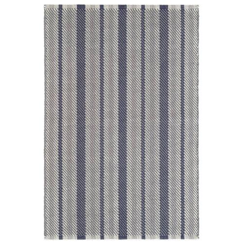 Dash & Albert Herringbone Stripe Navy Woven Cotton Rug - 2x3