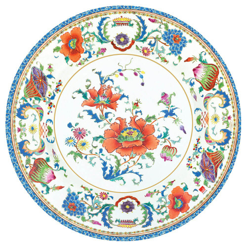 Caspari Chinese Ceramic White Dinner Plates
