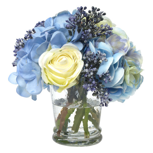 Diane James Small Blue Hydrangea Bouquet in Glass Vase