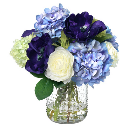 Diane James Purple Anemone and Hydrangea in Hobnail Vase