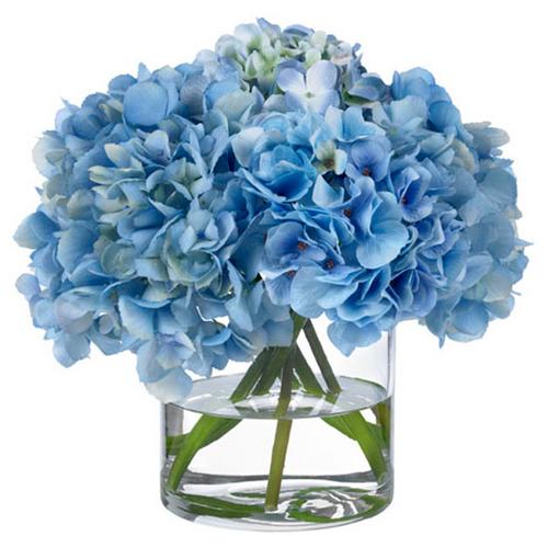 Diane James Blue Hydrangea Bouquet in Glass Vase