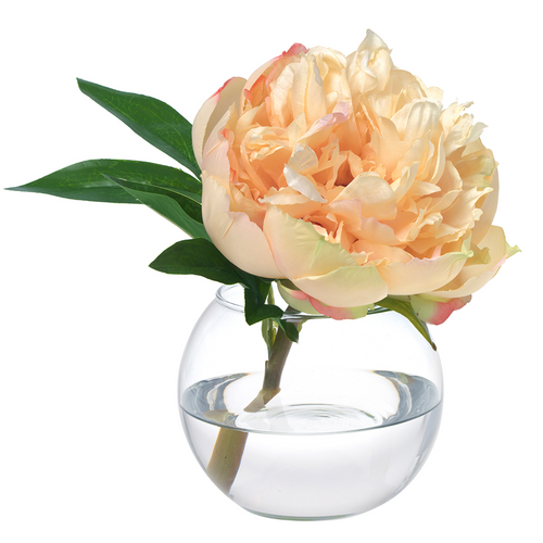 Diane James Yellow Peony Blossom in Glass Bowl
