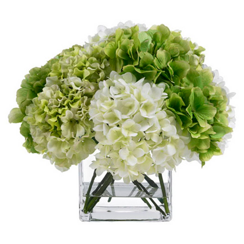 Diane James Green & Cream Hydrangea Bouquet in Glass Cube