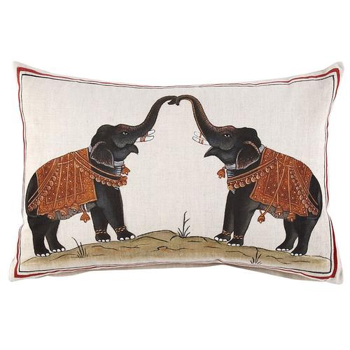John Robshaw Two Elephants Decorative Pillow with Insert