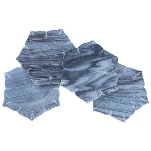John Robshaw Ayya Gray Marble Coasters - Set of 4