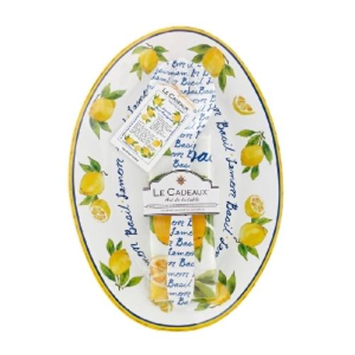 Le Cadeaux Lemon Basil Recipe Oval Serving Platter, Servers & Matching Tea Towel