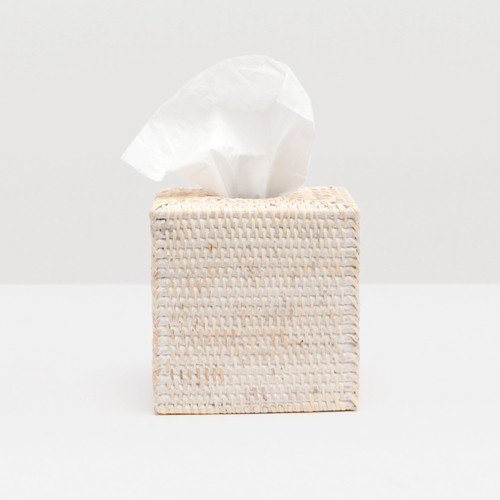 Pigeon & Poodle Dalton Whitewashed Rattan Tissue Box