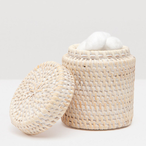 Pigeon & Poodle Dalton Whitewashed Rattan Canister