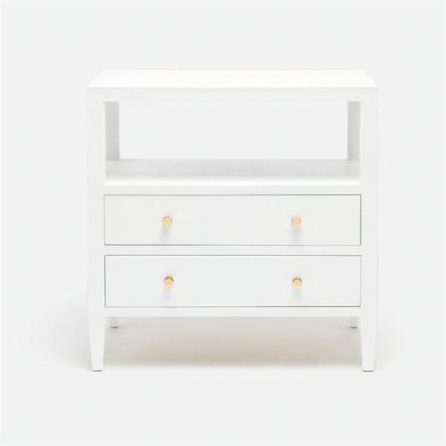 Made Goods Jarin Nightstand - Designer White Faux Belgian Linen