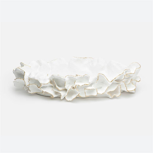 Made Goods Coco Tray White with Gold Faux Coral