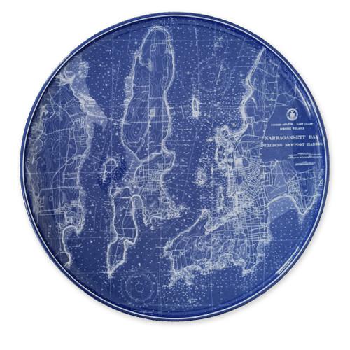 Caskata Chart Narragansett-Newport RI Blue Coupe Platter