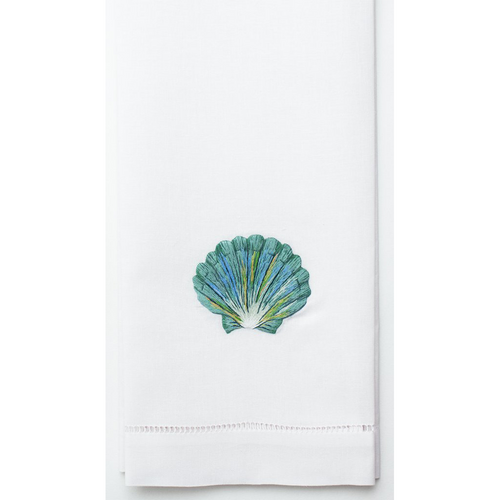 Henry Handwork Shell Teal Cotton Guest Towel