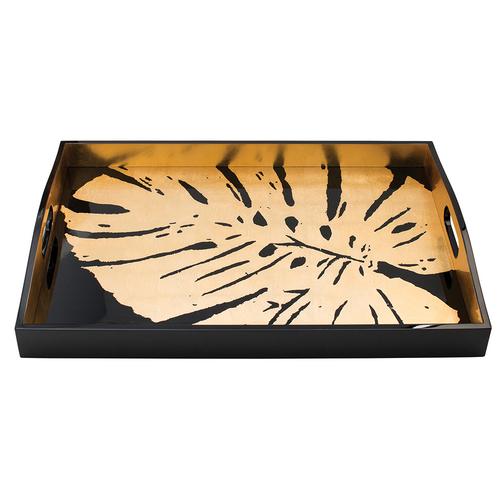 Caspari Palm Leaves Black/Gold Rectangular Lacquer Tray
