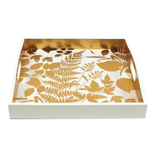 Caspari Modern Fern Gold/White Square Lacquer Tray