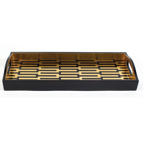 Caspari Zipper Black/Gold Lacquer Bar Tray
