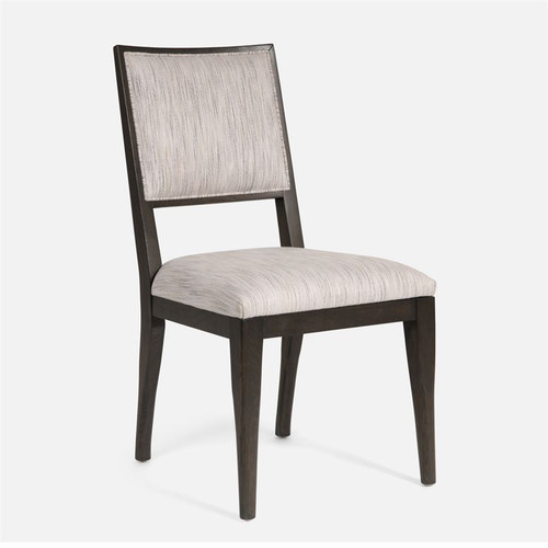Made Goods Nelton Chair with Alsek Stone Fabric and Glossy White Wood Finish