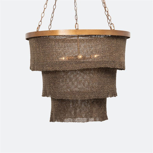 Made Goods Patricia Round Chandelier - Natural Coco Beads/Gold Metal