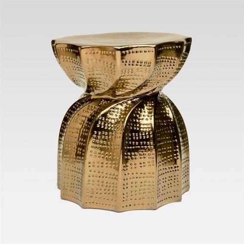 Made Goods Bea Crackled Gold Ceramic Stool