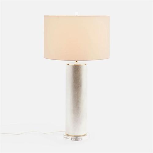 Made Goods Tavis Table Lamp - Warm Silver Faux Linen