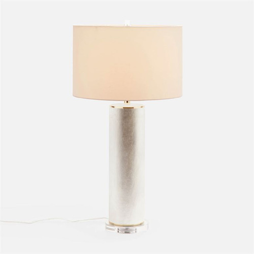Made Goods Tavis Table Lamp - Warm Silver Faux Linen