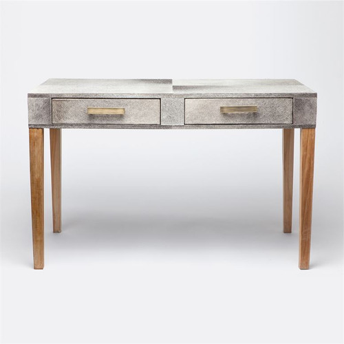 Made Goods Keaton Desk - Gray Hair-on-Hide