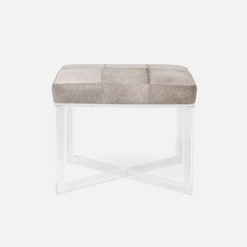 Made Goods Lex Bench - Clear Acrylic with Liard Rose Water Upholstery