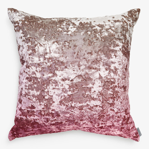 Aviva Stanoff Crushed Velvet Rosewater Ombre on Taupe Decorative Pillow - 20x20