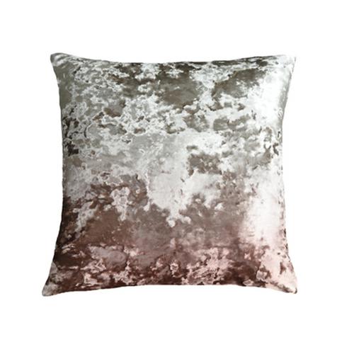 Aviva Stanoff Crushed Velvet Taupe Sunset Ombre Decorative Pillow - 24x24