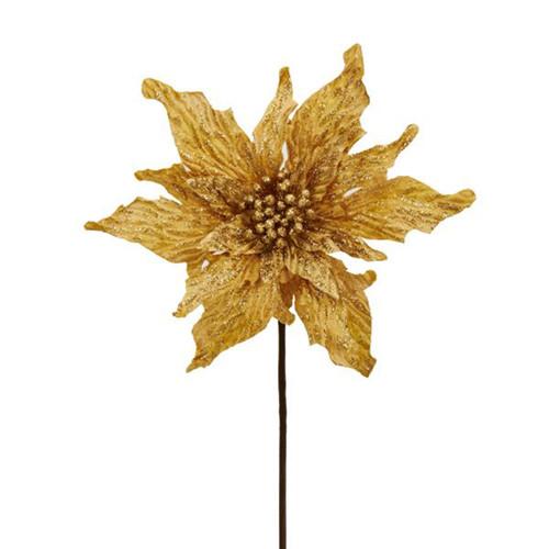 """Kurt Adler 16"""" Gold Velvet Poinsettia"""