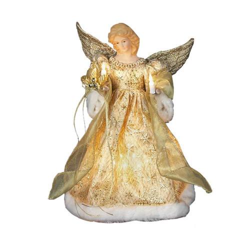 """Kurt Adler 12"""" Gold Dress Angel Treetop"""