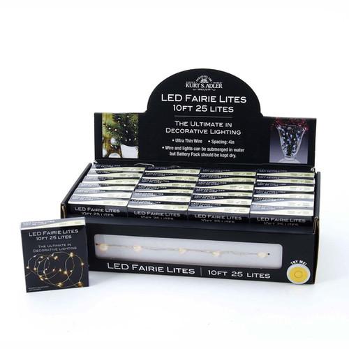 Kurt Adler Ultra Thin LED 25/L Warm White Fairie String Lights