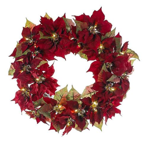 "Kurt Adler 18"" Red Poinsettia LED Wreath with Lights"