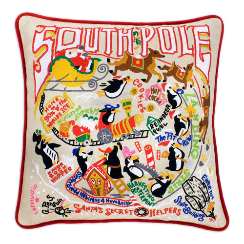 Catstudio South Pole Hand-Embroidered Pillow - Red