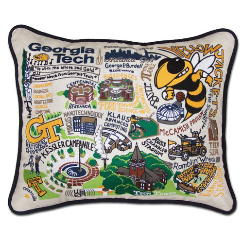 Catstudio Georgia Tech Collegiate Embroidered Pillow